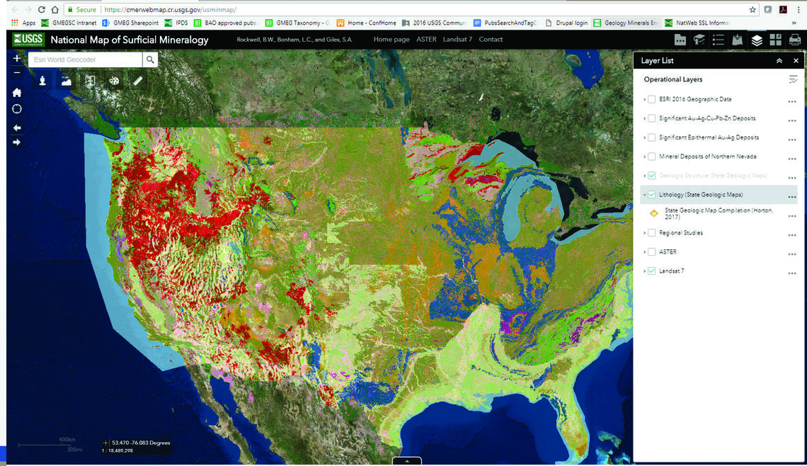 Image shows a screenshot of the web viewer for the State Geologic Map Compilation