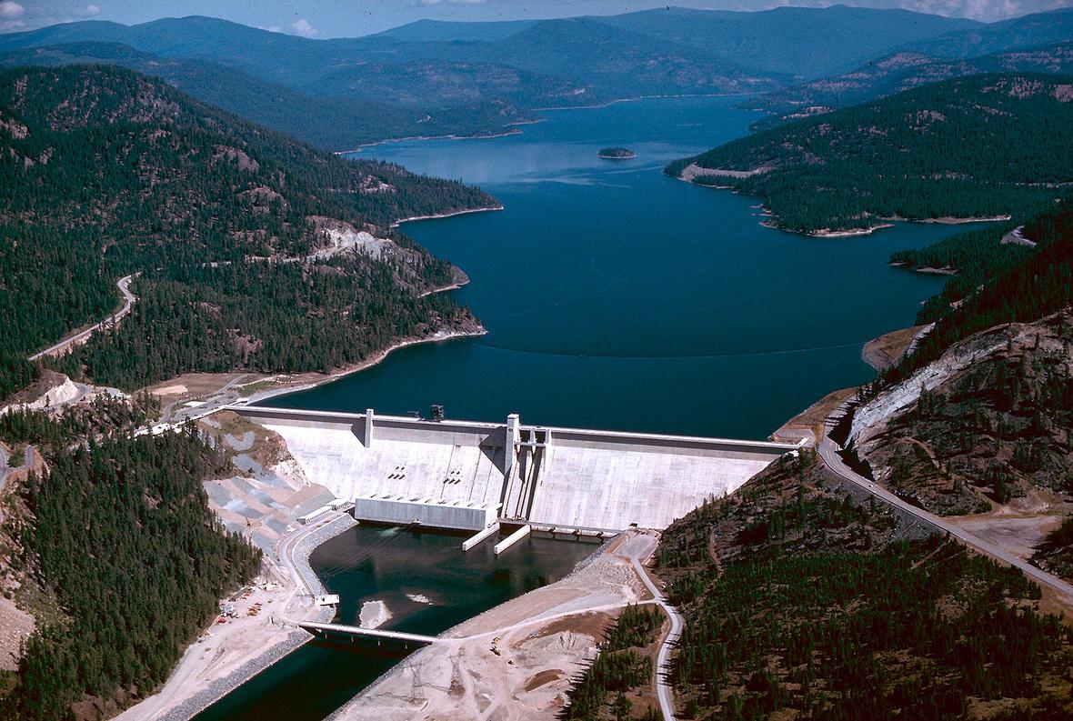 Image shows a view of Libby Dam and Lake Koocanusa