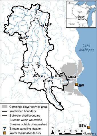 Sample Locations in Menomonee River watershed