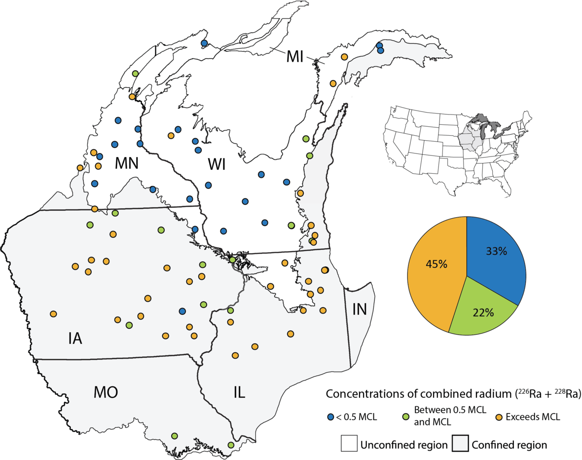 Map showing where in the Cambrian-Ordovician aquifer groundwater was tested for radium and where levels were high